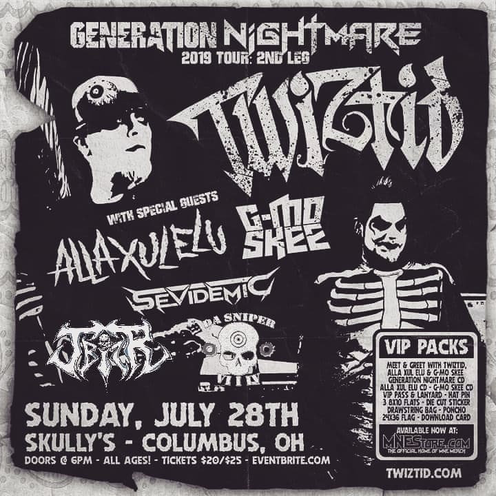 Twiztid show at Skullys flyer